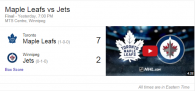 Game 1: Maple Leafs 7 vs Winnipeg Jets 2